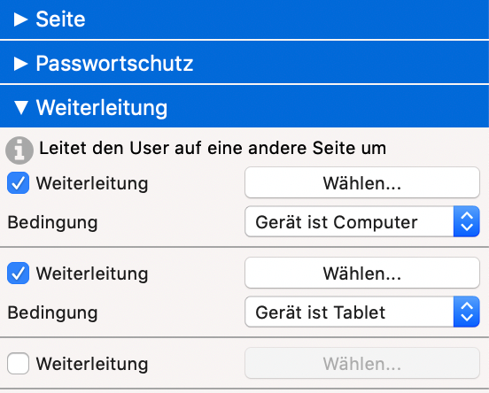 Verlinkung mobile Seite